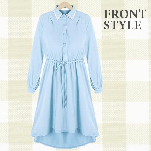 ワンピース通販〜TREND-H JAPANブランドの【☆TREND-H☆】襟もとにビジューをあしらったシフォンワンピ!カラーバリエーションは春らしい色合いで3色展開!裏地もしっかりついてサラッと着やすい!シンプルだから小物合わせも