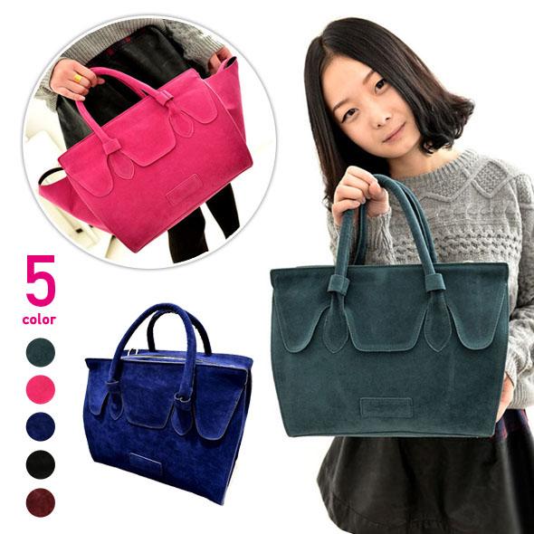 スウェード調フェイクレザーハンドバッグ 緑/ピンク/青/黒/赤色