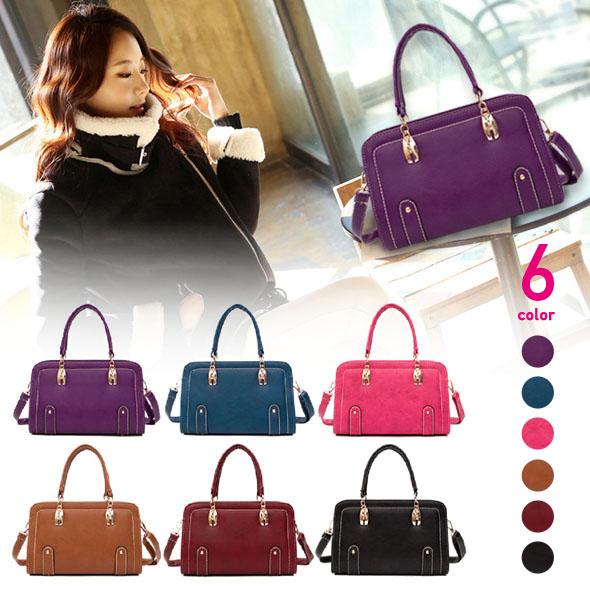フェイクレザーハンドバッグ 紫/青/ピンク/茶/赤/黒色
