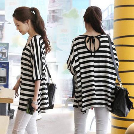シャツ通販〜TRMSHOPブランドのオープンバック・ゆるシルエット・ボーダーTシャツ
