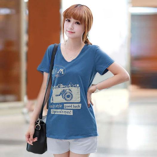 シャツ通販〜TRMSHOPブランドのカメラプリント・ラウンドネックTシャツ S/M/Lサイズ