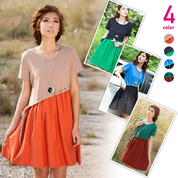 バイカラー半袖ひざ丈ワンピース ピンク+橙/黒+緑/青+黒/緑+橙色