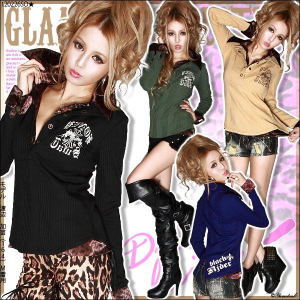 シャツ通販〜夢展望ブランドの[いかちめGALカジ☆重ね着風プリントシャツトップス|GC]◆入荷済