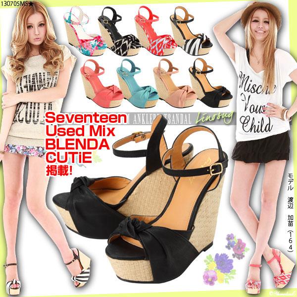 靴通販〜夢展望ブランドの[メッシュウエッジインストーム結び目アンクルベルトサンダル|G]◆入荷済