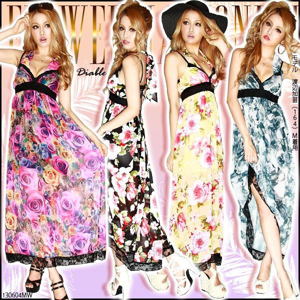 ワンピース通販〜夢展望ブランドの[リゾートセクシーGAL♪ラグジュアリー花柄マキシワンピース|GC]◆入荷済