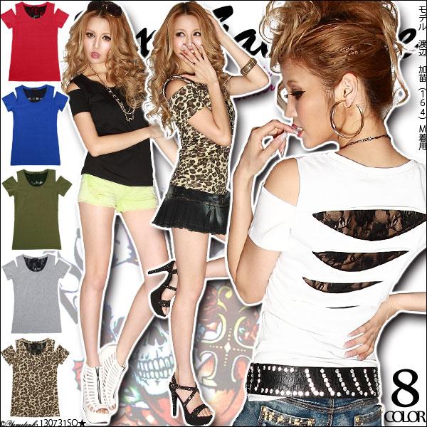 シャツ通販〜夢展望ブランドの[Sexy肌チラ魅せ☆背中クラッシュレースTシャツ|GC]◆入荷済