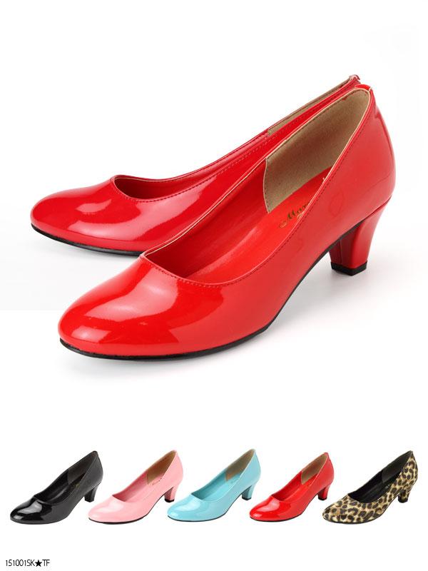 靴通販〜夢展望ブランドの[5cmヒールベーシックシンプルラウンドトゥパンプス【大きいサイズ】|P]◆入荷済