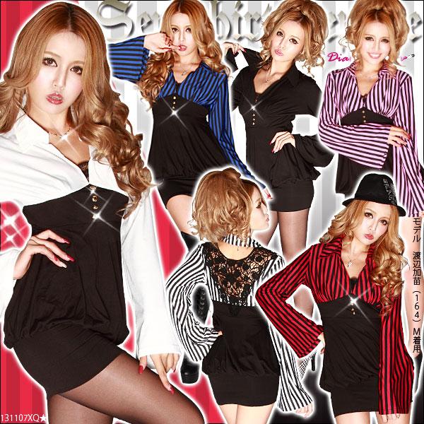 ワンピース通販〜夢展望ブランドの[大人Sexyデコルテ魅せ♪シャツ風切替ゆるピタワンピ|GC]◆入荷済