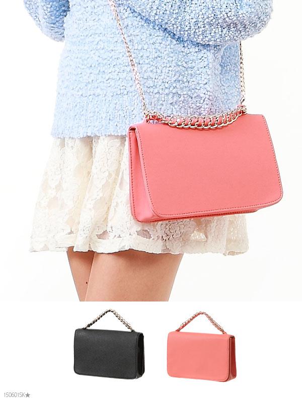 ショルダーバッグ通販〜夢展望ブランドの[大人気!シンプル2wayチェーンバッグ|P]◆入荷済