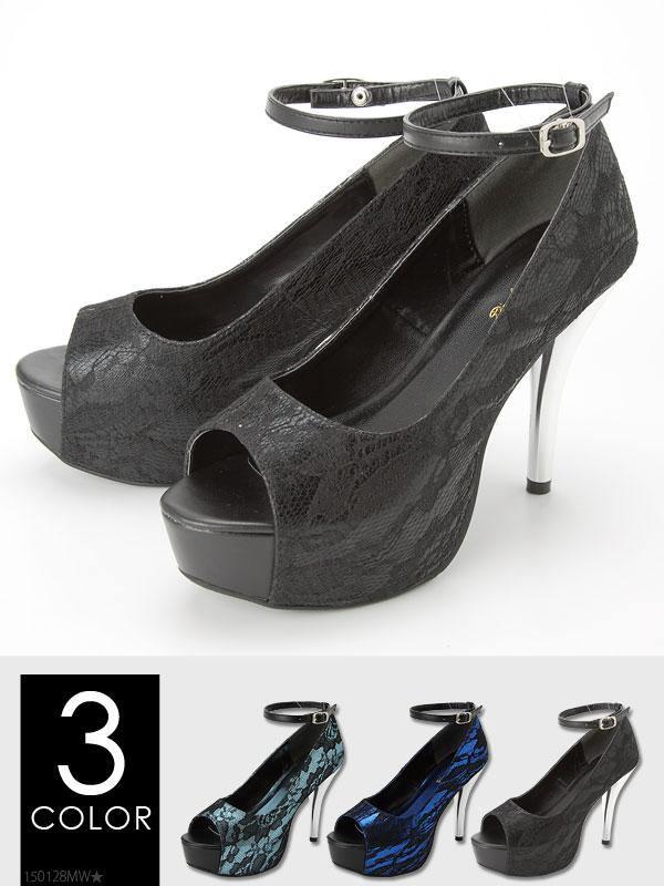 靴通販〜夢展望ブランドの[メッキヒールアンクルベルトレースオープントゥパンプス|G]◆入荷済