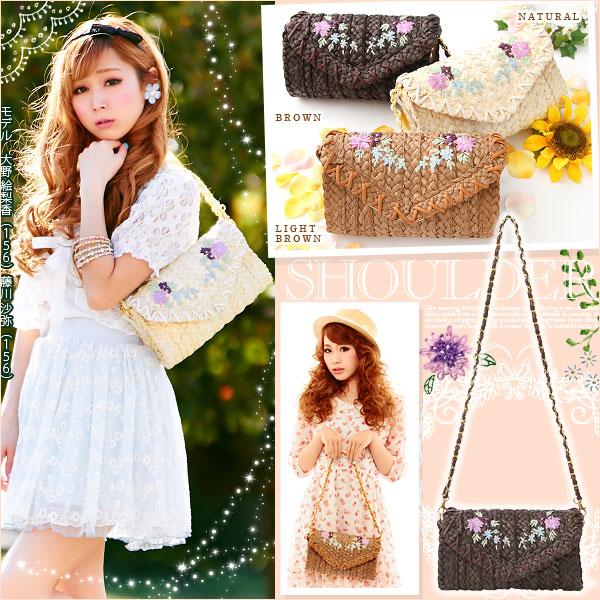 [フラワー刺繍ショルダーカゴバッグ|P]◆入荷済