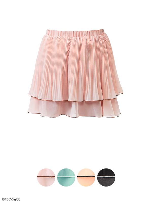パンツ通販〜夢展望ブランドの[裾配色メロー♪シフォンプリーツスカパン|P]◆入荷済