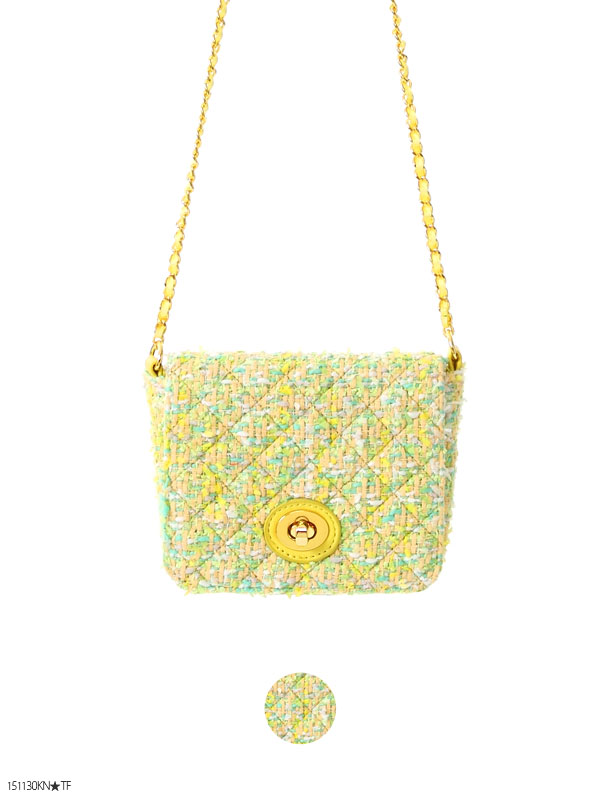 ショルダーバッグ通販〜夢展望ブランドの[サマーツイードチェーンバッグ|P]◆入荷済