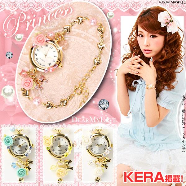 [バラ&リボンのハートチェーン姫腕時計|P]◆入荷済