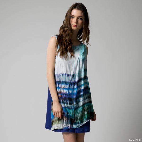 ワンピース通販〜夢展望ブランドの[異素材ドレープドレス|F]◆入荷済