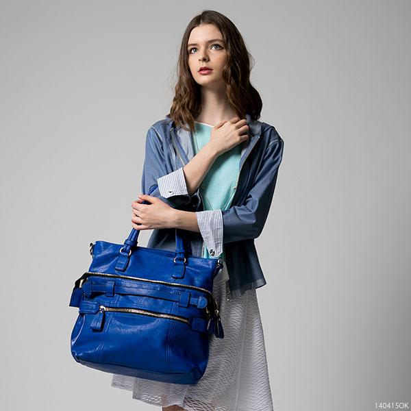 トートバッグ通販〜夢展望ブランドの[2wayフェイクレザージップ付きバッグ|F]◆入荷済