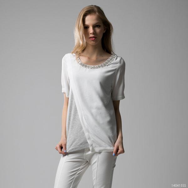 シャツ通販〜夢展望ブランドの[アシメトリー異素材ビジューTOPS F]◆入荷済