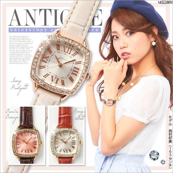 ベルト通販〜夢展望ブランドの[キラキラストーンアンティーク腕時計|E]◆入荷済
