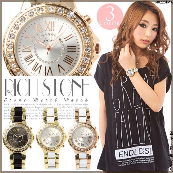 ベルト通販〜夢展望ブランドの[ゴージャスストーン2トーンメタル腕時計|G]◆入荷済