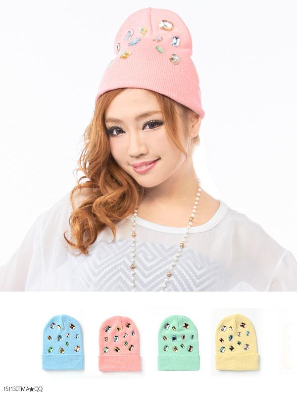 帽子通販〜夢展望ブランドの[ゴロっと大粒ビジューがかわいいパステルカラーニット帽|G]◆入荷済